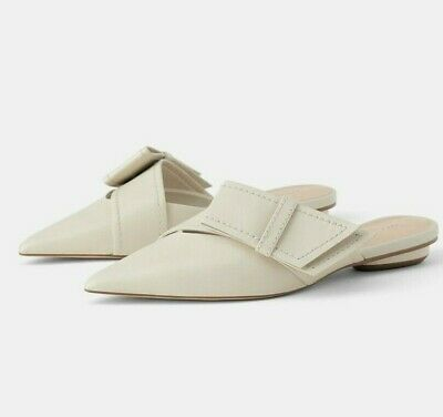 1696b1f6fda Zara Woman Strap Leather Mules With Bow Detail Flat Shoes Ecru 1550 001 New  Ss19