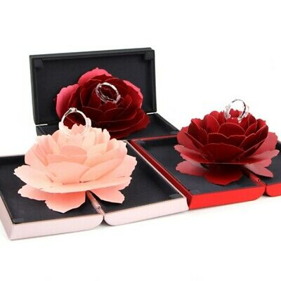 Unique Pop Up Rose Wedding Engagement Ring Box Surprise Jewelry Storage Case Gif