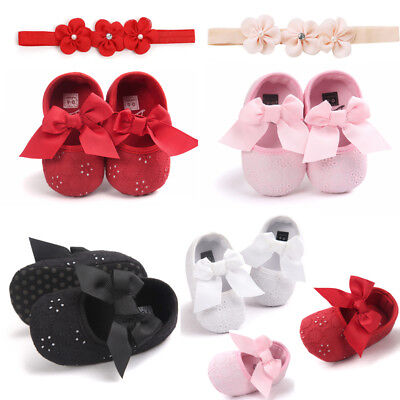 Cute Newborn Baby Girl Flower Leather Sneakers First Walkers Kid Shoes+Hairband