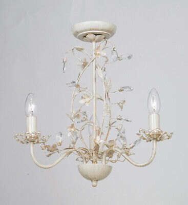 Beautiful 3 Way Flower Large Ceiling Light Fitting Pendant Chandelier Gold Cream
