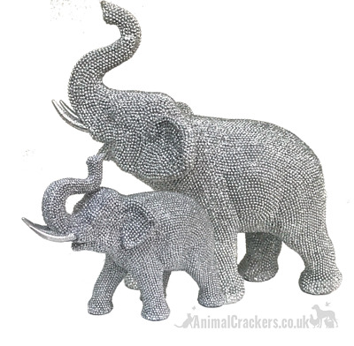 Glitzy silver sparkly diamante Elephant ornament sculpture decorations 2 sizes