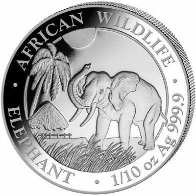 Lot of 2 MAJESTIC ELEPHANT Somalian Silver Coin African Wildlife Series 1/10 OZ