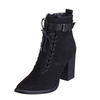 928df2ebf93 NASTY GAL High Block Heel Ankle Boots Size 40.5 UK 7.5 Black Laces Detailing