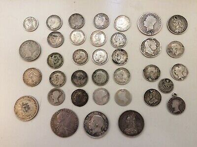 1787 Silver Shilling + 2 Others Silver Threepence X 20 Mixed Lot From Loft