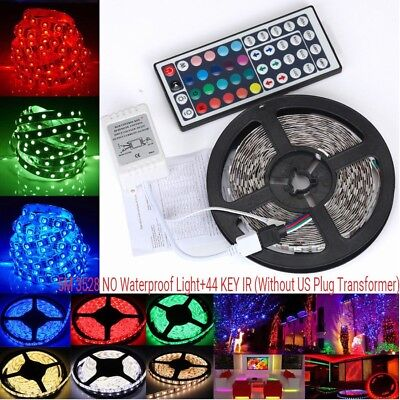 10M RGB 5050 Waterproof LED Strip Light SMD+44 Key Remote+12V USA Power Full Kit