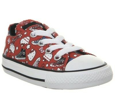 05c1336d04eae ENFANTS CONVERSE ALL Star Bas Baskets de Feu Rouge Blanc Hello Kitty ...