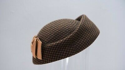 Vintage 1950s Style Hat Black and Brown Houndstooth 50s Retro