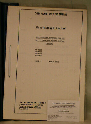 Racal Supplementry Handbook For The RA1792 IEEE 488 Remote Control