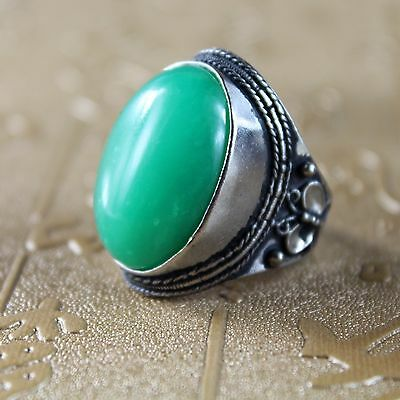 Chinese Hand-carved Green Jade Ring jade Banzhi, handmade Applique Ring A0031