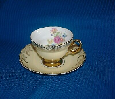 Vintage Rosina Bone China cup and saucer set, made in England pastel yellow