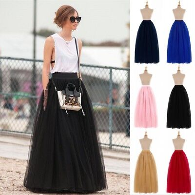 6 Layers Women Tulle Adult Tutu Skirt Maxi Petticoat Bridal Wedding Prom Dress