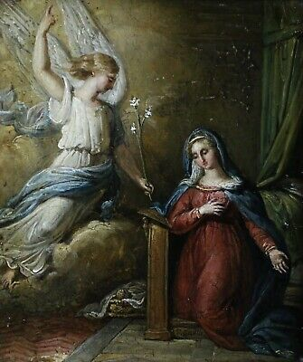 EARLY 19th CENTURY FRENCH OIL ON PANEL - SAINT CATHERINE - INDISTINCTLY SIGNED