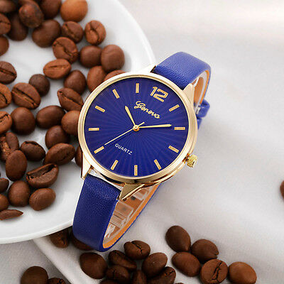 Fashion Womens Casual Stainless Steel Leather Quartz Analog Dress Wrist Watch UK