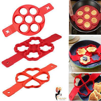 Non Stick Flipping Pancake Maker Silicone Mold Breakfast Omelette Mould 3 Shape