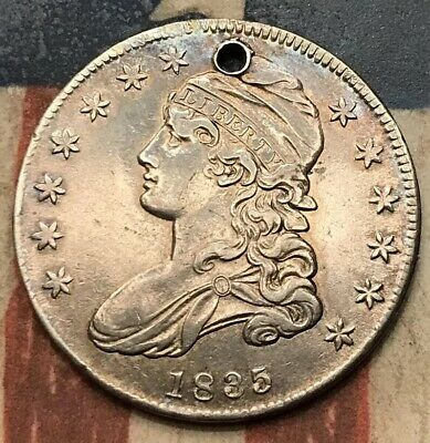 1835 50C Capped Bust Half Dollar 90% Silver Vintage US Coin #SX1 Very Sharp