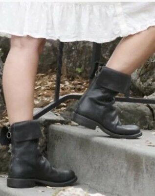 0f64cacb2 FIORENTINI+BAKER BLACK 100% Leather Ankle Boot Size 6 Scrunch Bootie ...