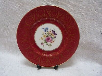 Superb Royal Worcester Large Cabinet Plate Floral Bouquet Red Gold Filigree Trim