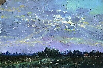19th CENTURY IMPRESSIONIST OIL ON BOARD - SUNSET LANDSCAPE - FINE WORK