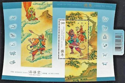 CANADA Sc# 2016  YEAR OF THE MONKEY Souvenir Sheet Chinese calendar 2004  MNH