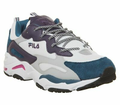 Fila Ray Tracer Trainers White Ink Blue Purple Pennant Trainers Shoes