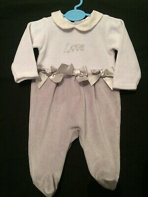 Mintini Baby Girls Spanish Style Romany Bows Grey Velour Babygrow Outfit 1 Month