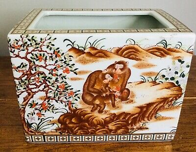 Antique Chinese Jardiniere Planter Qianlong Red Seal Mark Monkey Family Baby