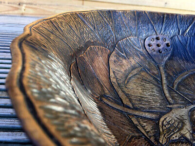 """Antique Japanese 18thC Nara Wood Carved Kingfisher Frog Lilly Pad 17"""" Table Bowl"""