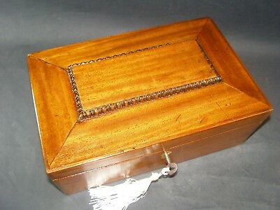 Antique Mahogany Desk Top Box Working Lock & Key c1870 Sloping Lid Carved Edge
