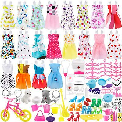 135 Pcs For Barbie Doll Clothes Party Gown Outfits Shoes Bags Necklace Accessory