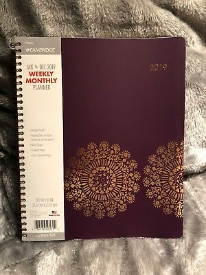 """Cambridge 2019 Weekly & Monthly Planner / Appointment Book, 8-1/2"""" x 11"""", Large,"""