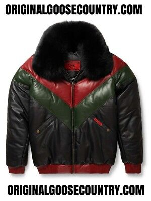 Brand New Goose Country V-Bomber Jacket Red/green/black With Fox Collar