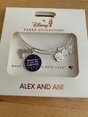 Disney Alex And Ani Believing Is Just The Beginning Silver Bangle Bracelet New