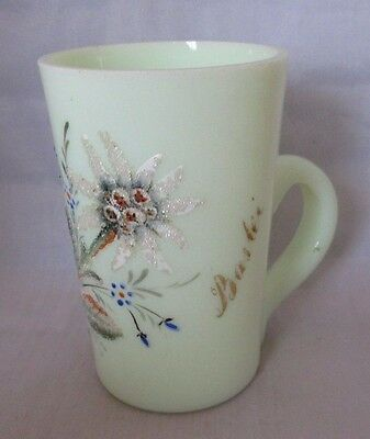 Light Lemon Yellow Color 6 oz Cup with Hand Painted raised flower pattern