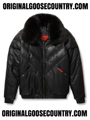 Brand New Goose Country V-Bomber Jacket From 80's Black With Fox Collar