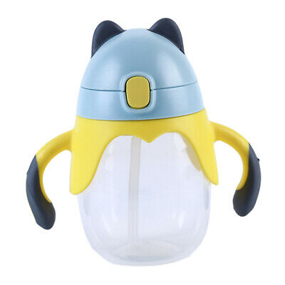 Baby Children Cartoon Plastic School Drinking Water Bottle Straw Sippy Cup L