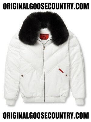 Brand New Goose Country V-Bomber Jacket From 80's White With Fox Collar