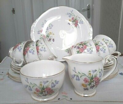 Vintage Queen Anne (Ridgway) Old Country Spray 21 Piece Tea Set - Pretty Floral
