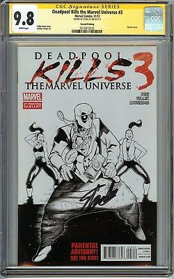 Deadpool Kills the Marvel Universe #3 CGC 9.8 NM/MT SIGNED STAN LEE SKETCH COVER