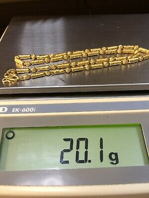 """VTG CHINESE 9999 24K PURE SOLID YELLOW GOLD BAHT 18"""" CHAIN NECKLACE 20.1g ~ NR"""