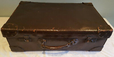 Vintage brown leather suitcase by Leckie Graham of Glasgow.