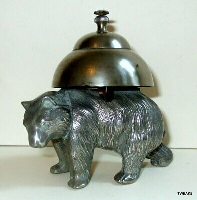 Antique Novelty Pewter Bear Counter Table Reception Bell