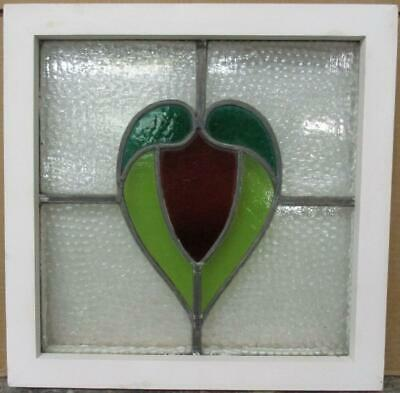 """OLD ENGLISH LEADED STAINED GLASS WINDOW Abstract Heart Design 17.25"""" x 17.25"""""""