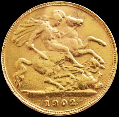 1902 Gold Great Britain Half Sovereign 3.99 Grams King Edward Vii Coin *solder