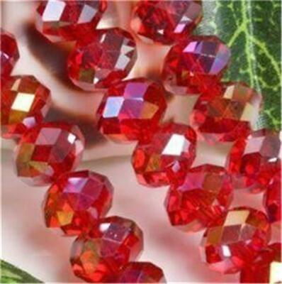 70pcs Red AB Crystal Loose Bead 6X8mm##QF1659