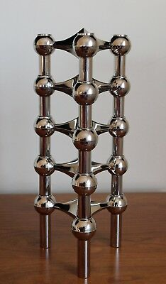 Lot Of 5 : 1960's Nagel Chrome Modernist Modular Candleholders : West Germany