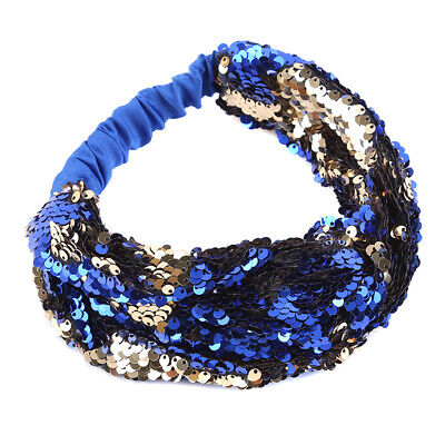 Women Lovely Reversible Sequins Wide Hair Band Headband Hair Hoop Accessory L