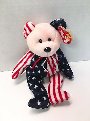 884bc67b073 Spangle Patriotic Red White and Blue Retired Ty Beanie Baby Bear Pink Face  MWMT