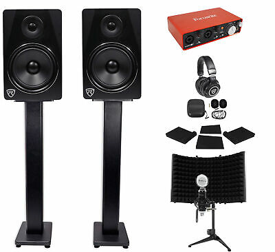 """Focusrite Package Interface+Pair 8"""" Monitors+Recording Mic+Headphones+36"""" Stands"""