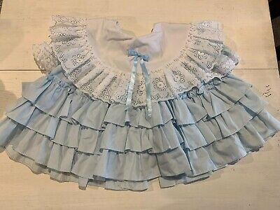 "VTG TODDLER ""GOLDEN AGE"" USA MADE BLUE RUFFLES With LACE Details Dress! 12Month"
