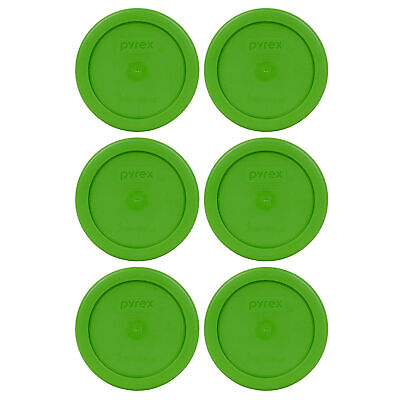 Pyrex 7202-PC 1 Cup Lawn Green Plastic Replacement Lid Cover 6PK for Glass Bowl